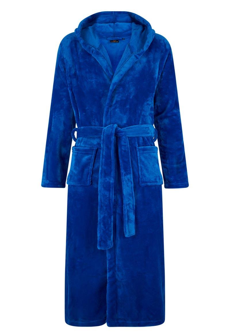 Koningsblauwe fleece badjas met capuchon-s/m