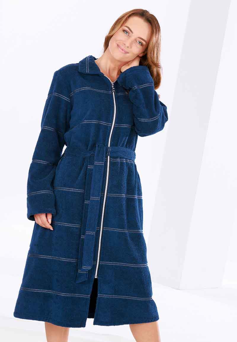 Lange badjas met rits - donkerblauw-38