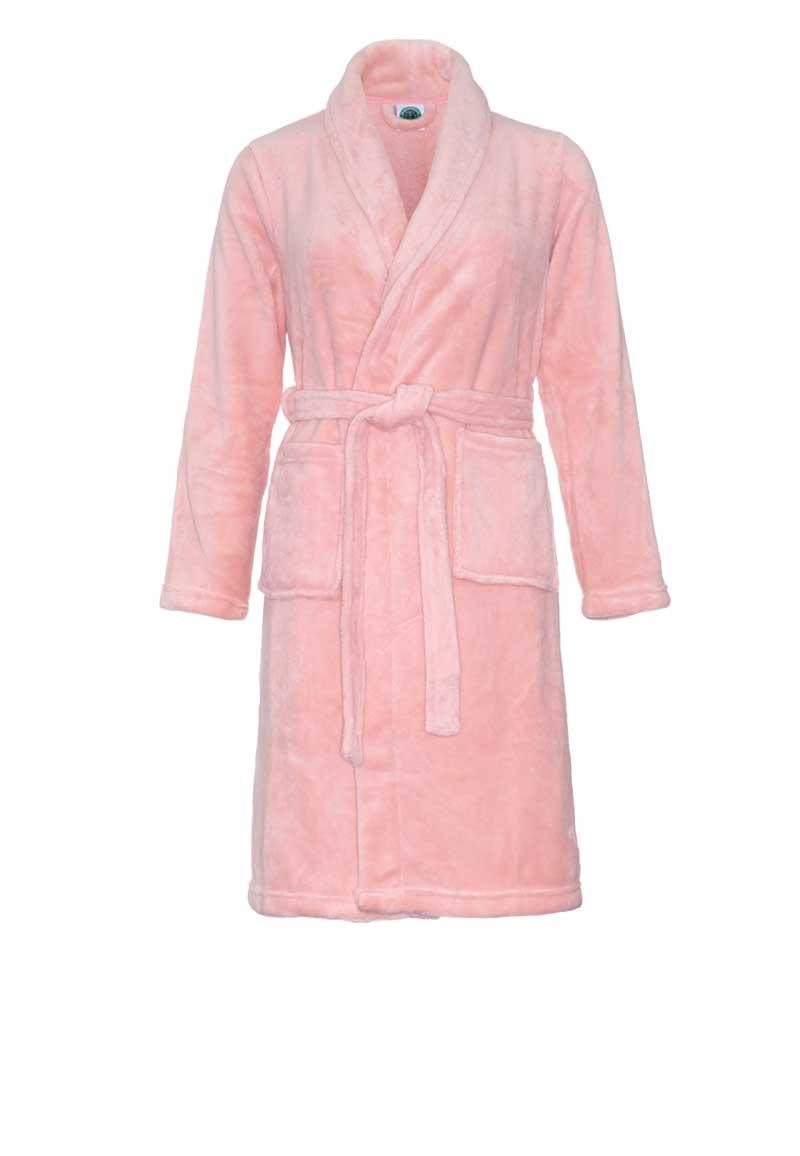 Oud roze kinderbadjas fleece-122/128 (M)