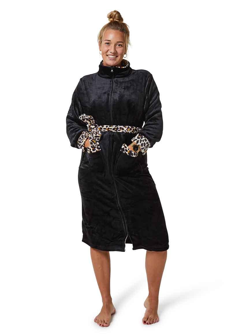 Badjas zwart met ritssluiting-l/xl
