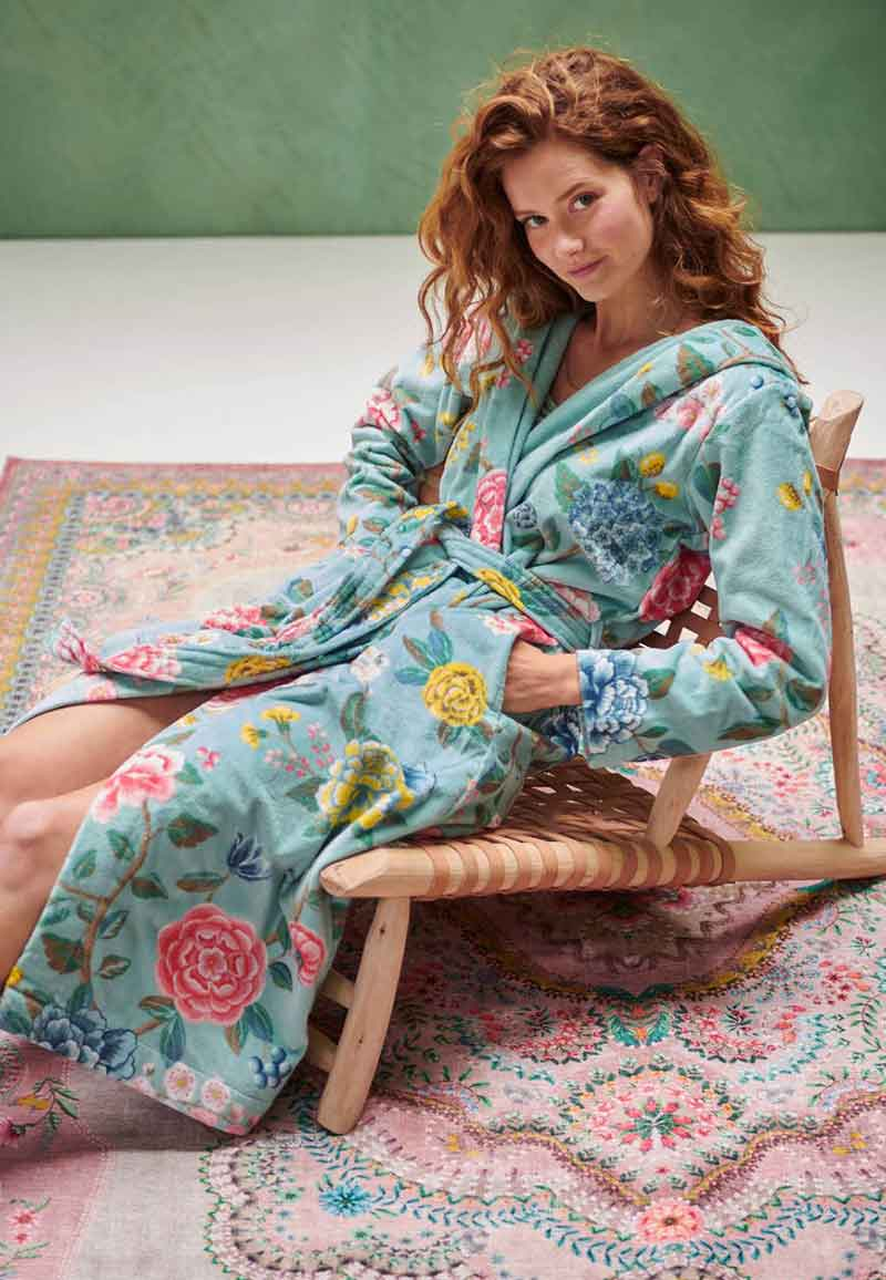 Blauwe dames badjas bloemendessin - Pip Studio-s