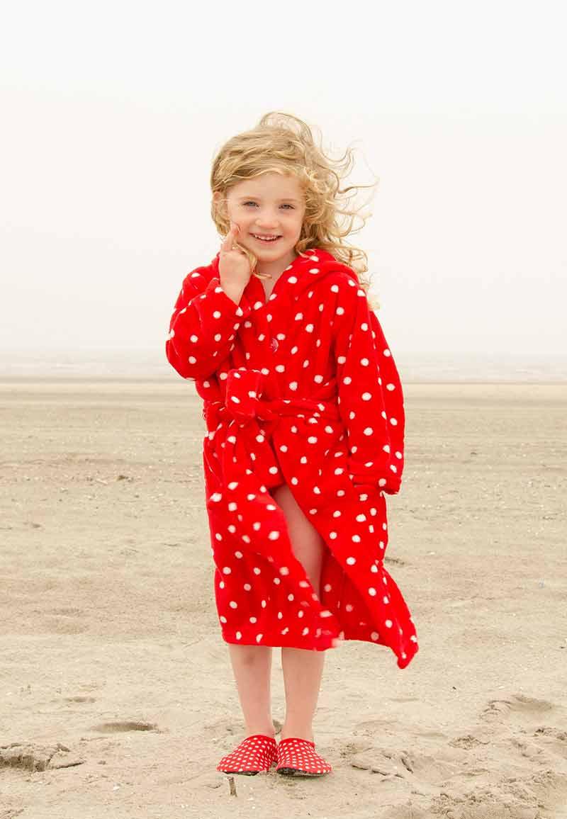Stippen badjas rood-146/152