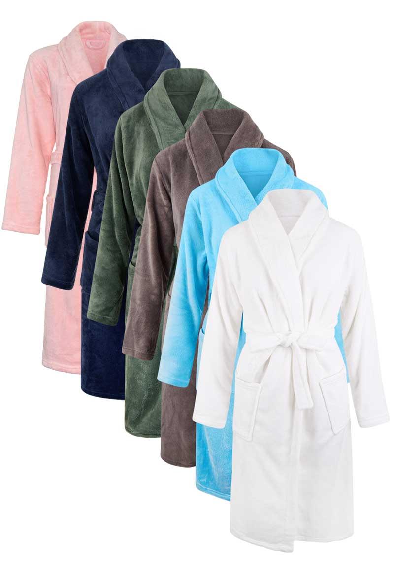Fleece kinderbadjas borduren-blauw-110/116 (S)