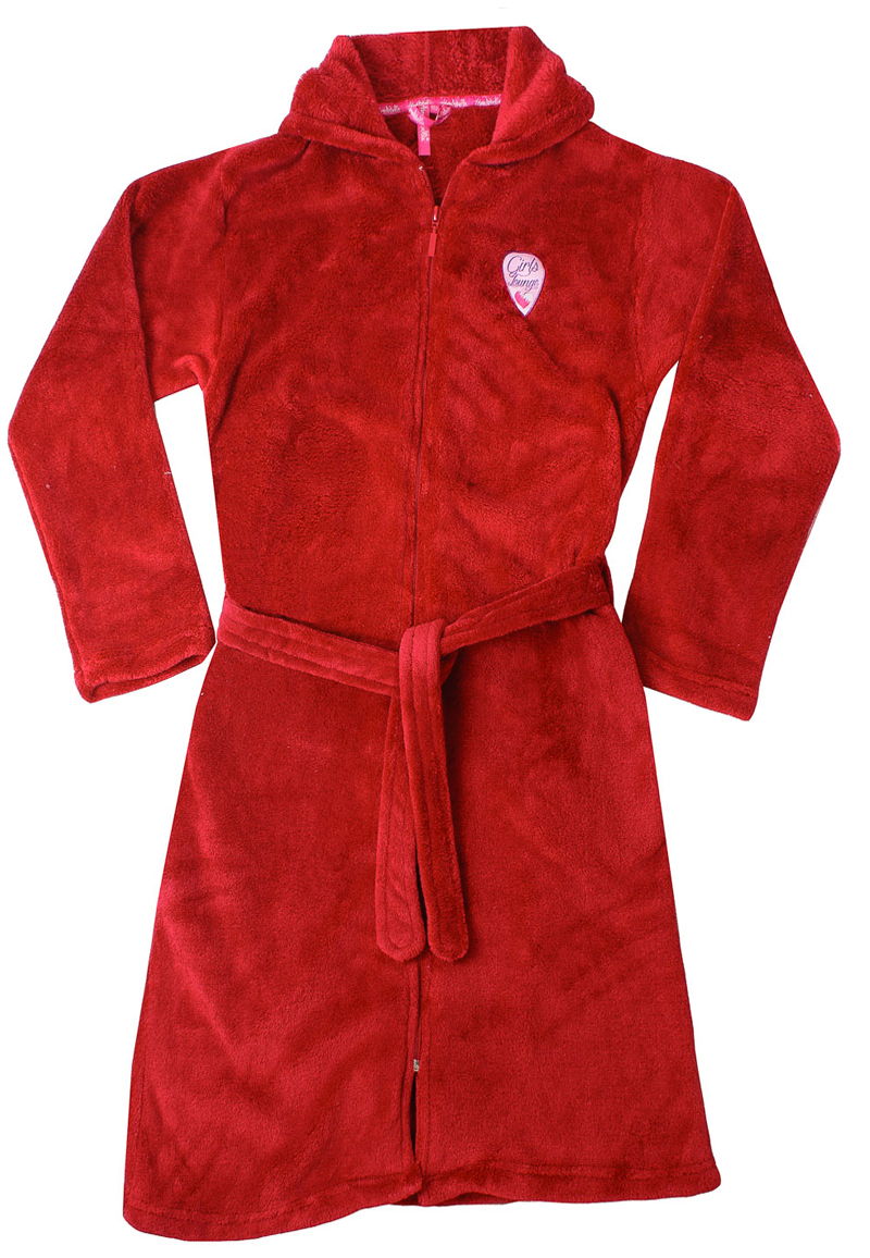 Rode kinderbadjas met rits-164
