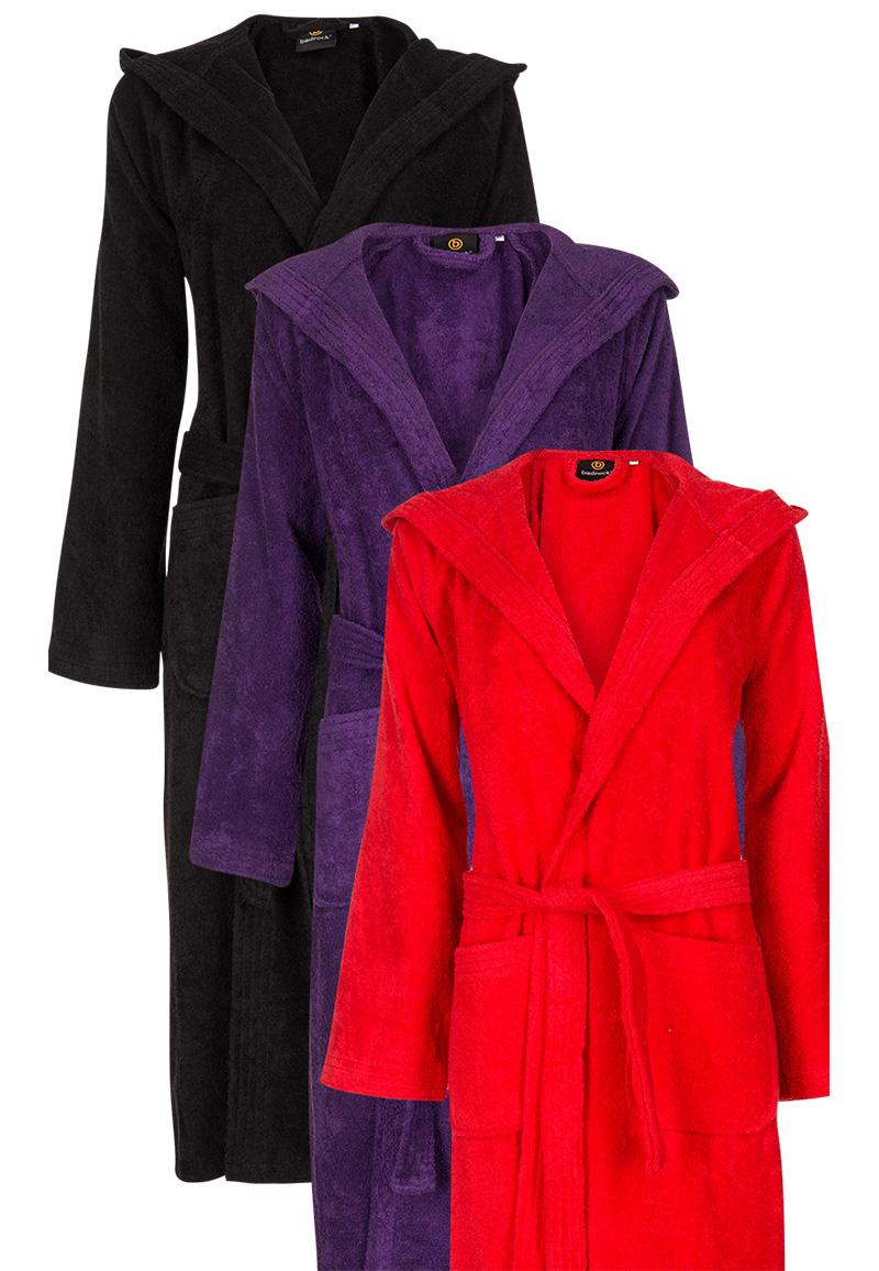 Paarse badjas met capuchon - L/XL