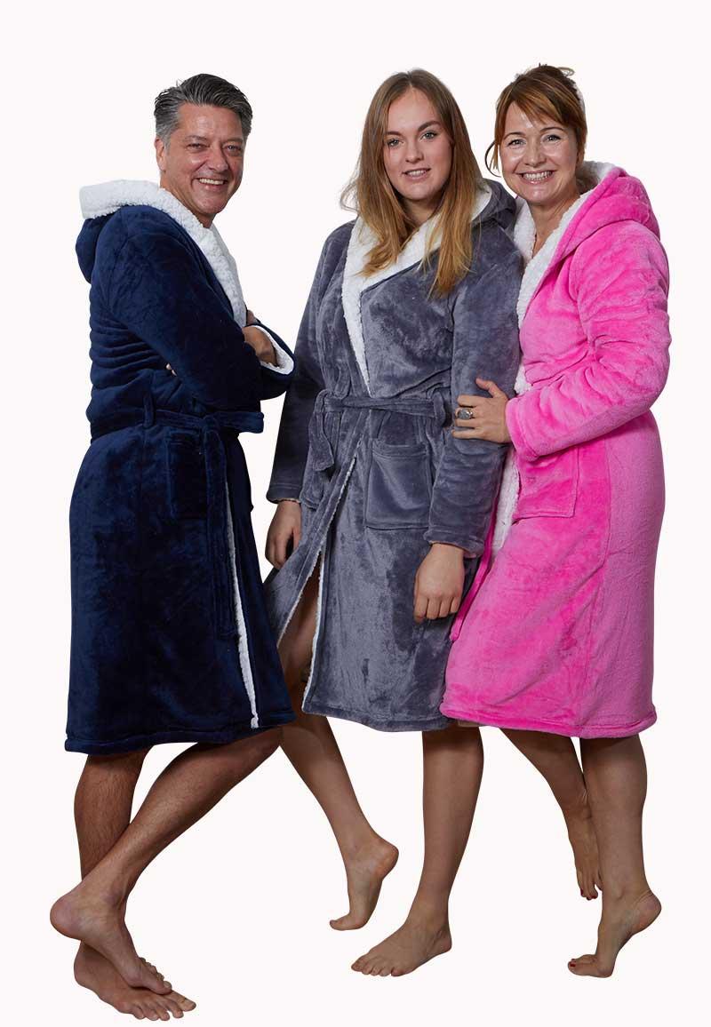 Sherpa badjas fleece - 3 kleuren-marineblauw-s/m