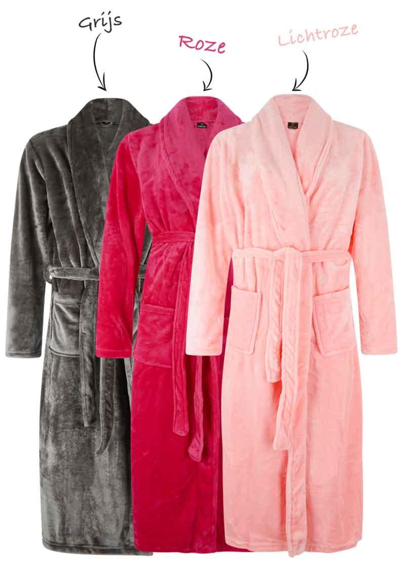 Fleece badjassen borduren sjaalkraag-grijs-l/xl