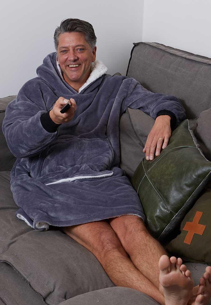 Snuggie oversized met hoodie - antraciet-One Size
