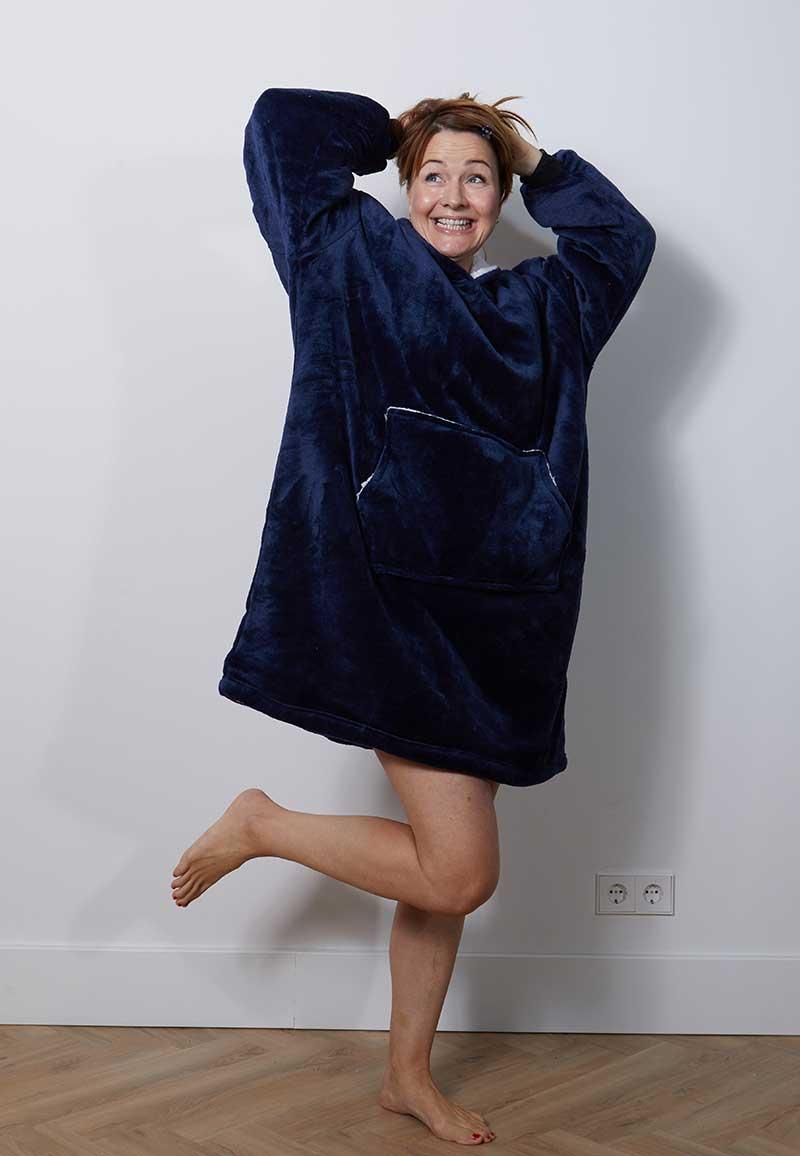 Snuggie oversized met hoodie - marine-One Size