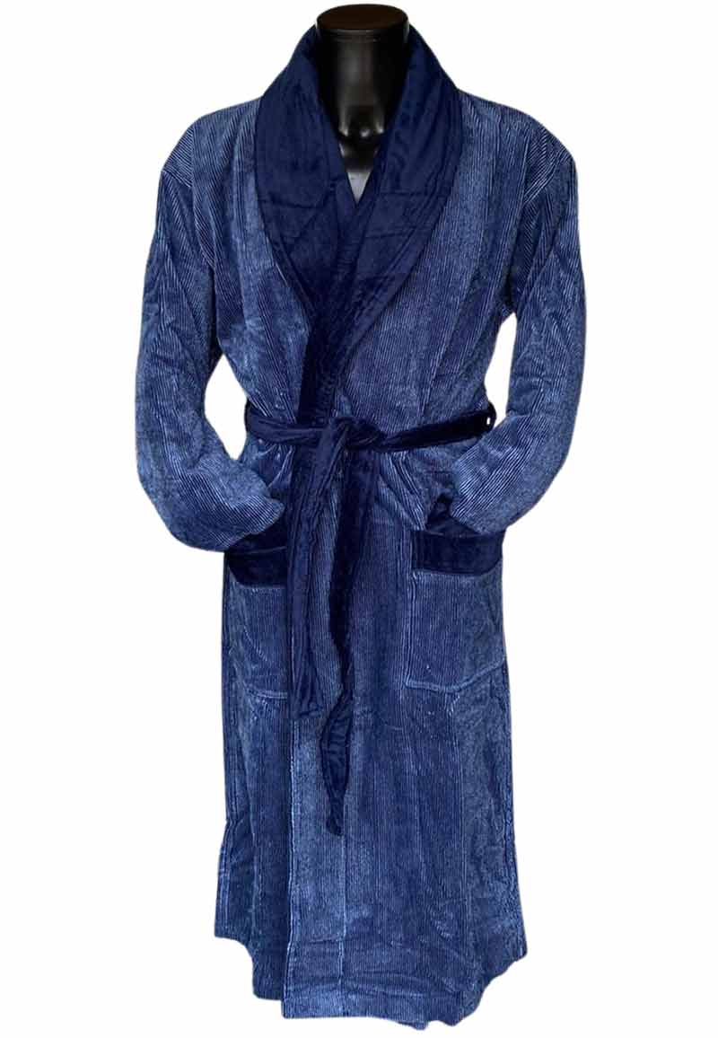 Van Dyck unisex badjas velours donkerblauw-m