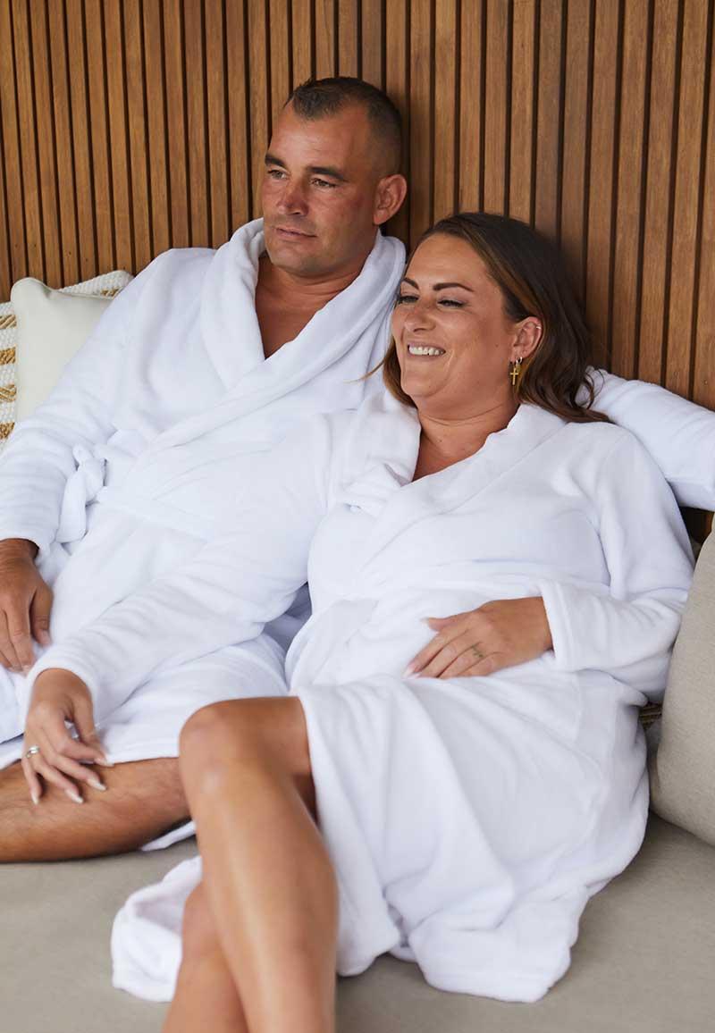 Witte badjas fleece - unisex-s/m