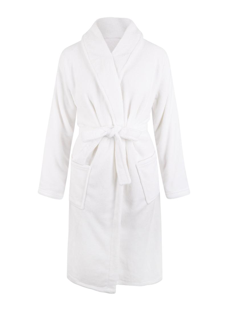 Witte badjas fleece - unisex-xl/xxl