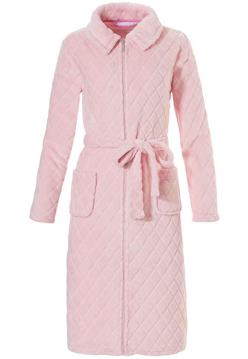 Lichtroze fleece badjas met rits - Pastunette-m