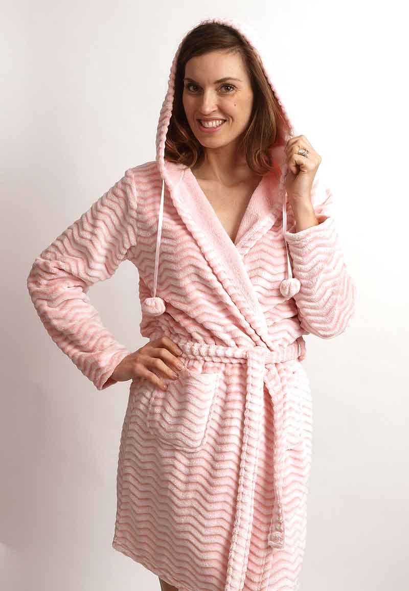 Zacht roze fleece badjas zigzag-xl