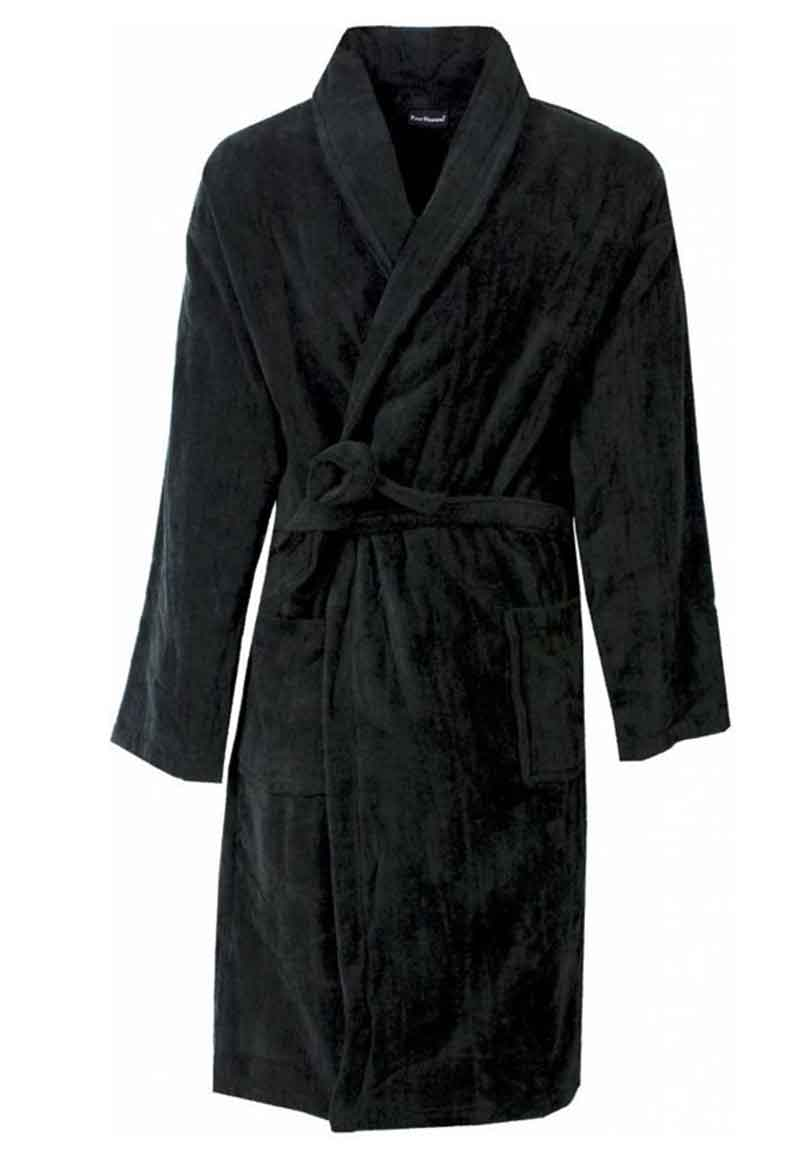 Zwarte fleece badjas basic line-xl
