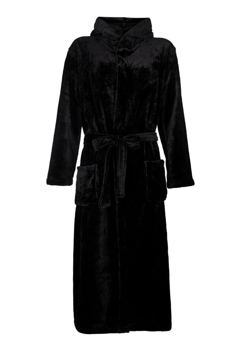 Zwarte fleece badjas met capuchon-l/xl