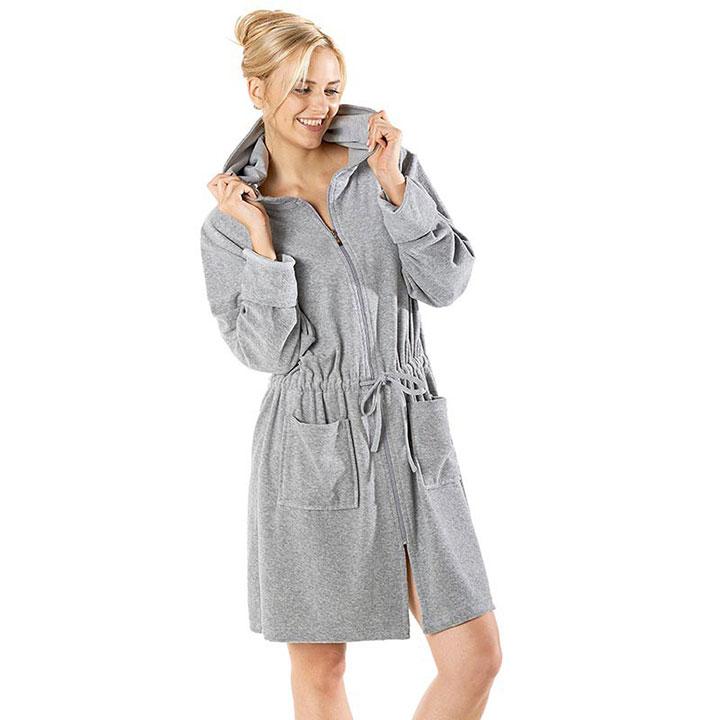 Grijze badjas rits voor dames