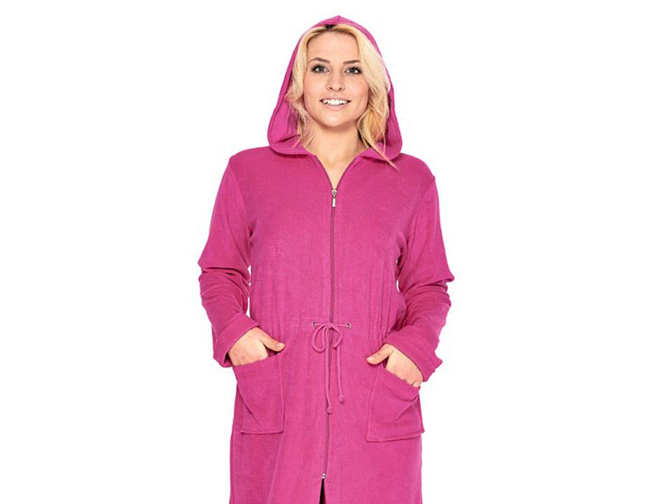 Roze badjas met rits 100procent-katoen