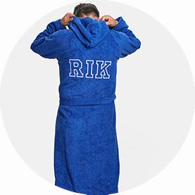 blauwe badjas met borduring naam